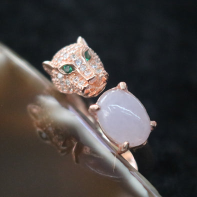 Icy Type A Burmese Lavender Jade Jadeite Cheetah Ring set in 925 Sliver and Zircon - 4.46g