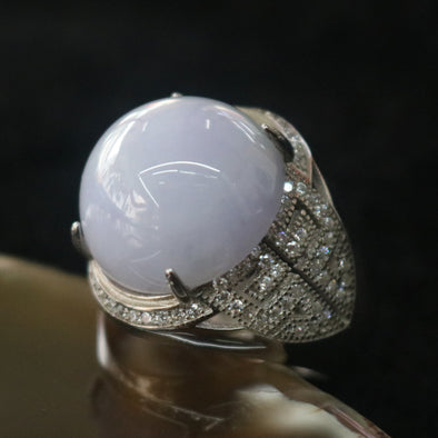 Type A Burmese Lavender Jade Jadeite Feng Shui Ring set in 925 Sliver and Zircon - 11.21g