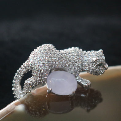Icy Type A Burmese Lavender Jade Jadeite Cheetah Ring set in 925 Sliver and Zircon - 10.77g
