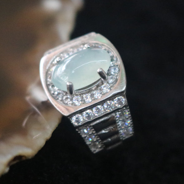 Icy Type A Burmese Jade Jadeite Ring set in 925 Sliver and Zircon - 6.4g