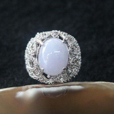 Icy Type A Burmese Lavender Jade Jadeite Ring set in 925 Sliver and Zircon - 7.75g