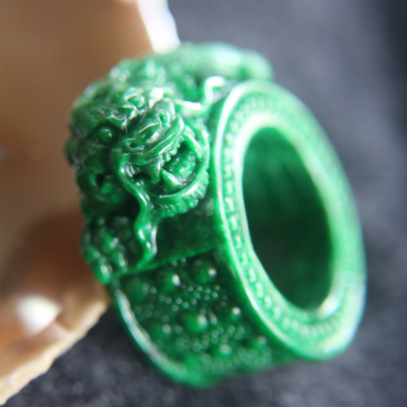 Magnificent Type A Rare Dragon Thumb Ring Jade Jadeite for Authority & Power