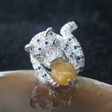 Icy Type A Burmese Yellow Jade Jadeite Cheetah Ring set in 925 Sliver and Zircon - 15.1g