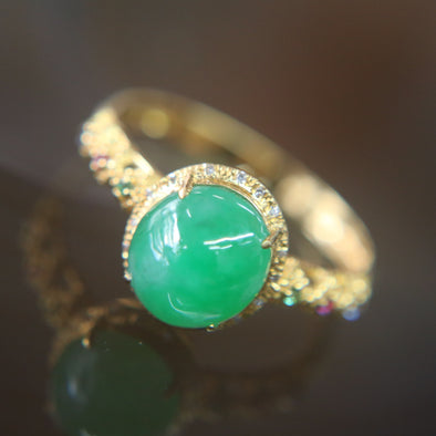 Type A Green Burmese jadeite ring in 18k yellow gold & natural diamonds