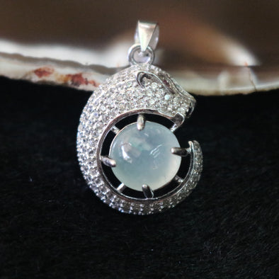 Icy Type A Burmese Jade Jadeite Panther Pendant set in 925 Sliver and Zircon - 4.75g L16.9 W20.3 D9.7mm