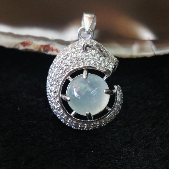 Icy Type A Burmese Jade Jadeite Panther Pendant set in 925 Sliver and Zircon