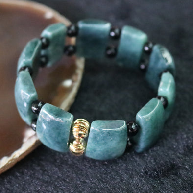 Type A Burmese Jade Jadeite Green & Onyx Beads Bracelet - 64.72g L20.2 W16.1mm/piece 10 pieces
