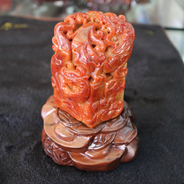 Type A Burmese Jade Jadeite Red, Green & Lavender Dragon Seal Display - 564.73g L53.0 W95.0 D43.0mm