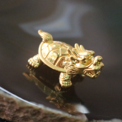 24K 999 Gold Feng Shui Dragon Tortoise Charm for Bracelet or Pendant