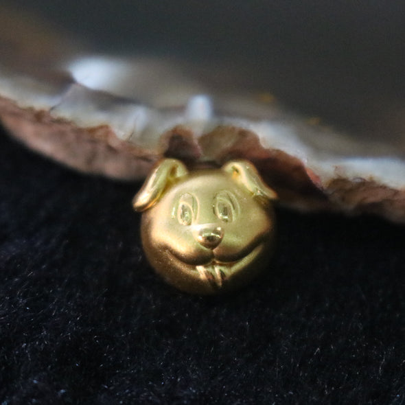 24K 999 Gold Feng Shui Dog Charm for DIY Bracelet or Pendant