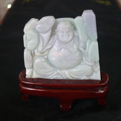 Type A Burmese Jade Jadeite Lavender and Green Milo Buddha Display - 502.02g L120.0 W118.0 D15.0mm