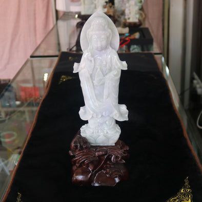 Type A Burmese Jade Jadeite Lavender and Green Feng Shui Guan Yin Display Mercy & Passion