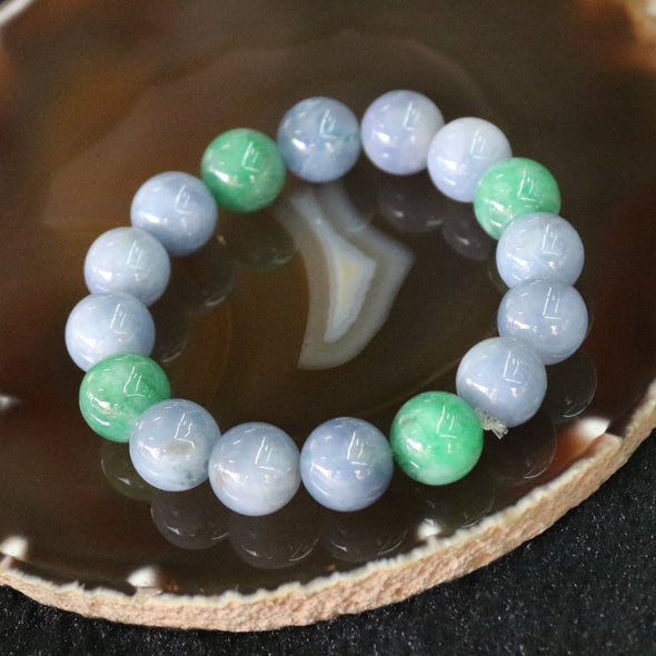 Type A Burmese Jade Jadeite Lavender and Green Beads Bracelet - 62.46g 13.2mm/bead 16 beads