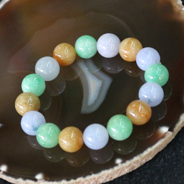 Type A Burmese Jade Jadeite Mixed Colours Beads Bracelet - 59.68g 12.9mm/bead 16 Beads