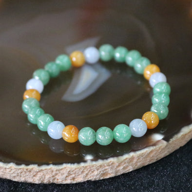 Type A Burmese Jade Jadeite Mixed Colours Beads Bracelet - 15.15g 7.2mm/bead 26 beads