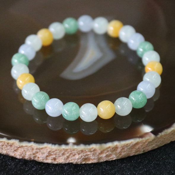 Type A Burmese Jade Jadeite Mixed Colours Beads Bracelet - 15.56g 7.1mm/bead 26 beads