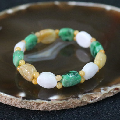 Type A Burmese Jade Jadeite Tortoise Shell Mixed Colours Beads Bracelet - 26.20g 12 pieces