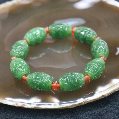 Natural Nephrite Beads Bracelet - 45.0g 9 beads