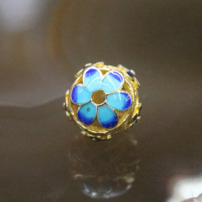 Gold Plated Copper Blue Flower Charm
