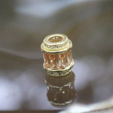 Gold Plated Copper Champagne Crystal Charm