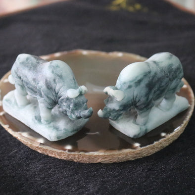 Pair of Type A Burmese Jade Jadeite Rhinoceros - 293.45g