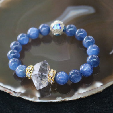 Conquer All - Powerful Feng Shui Kyanite & Clear Quartz Beads Bracelet