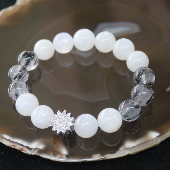 Rising Star - Blue Moonstone and Black Rutilated Quartz Beads Bracelet