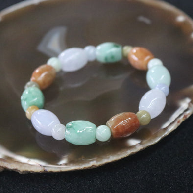Type A Burmese Jade Jadeite Mixed Colours Beads Bracelet - 39.28g 13.6mm/bead 10 Beads