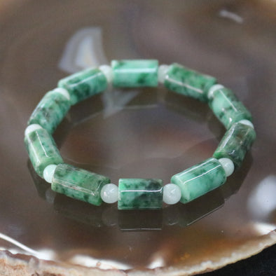Type A Burmese Jade Jadeite Beads Bracelet - 26.77g 14.9mm/bead 10 Beads