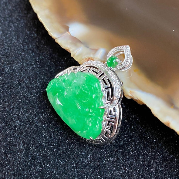 Type A Burmese Jade Jadeite Apple Green Milo Buddha 18K White Gold - 2.10g 22.7 by 20.2 by 6.1mm
