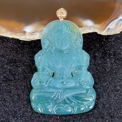 Type A Burmese Blueish Green Guan Yin Jade Jadeite 18k Rose Gold - 14.73g 49.4 by 33.6 by 5.4mm