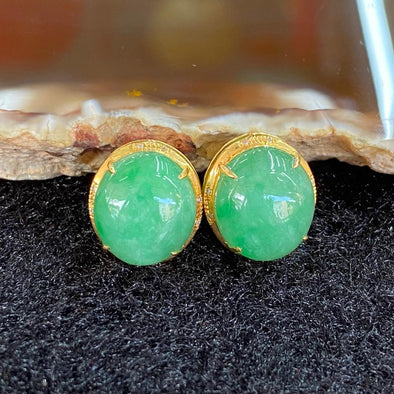 Type A Burmese Jade Jadeite Earrings 18k Gold - 3.53g each 13.4 by 11.8 by 7.5mm