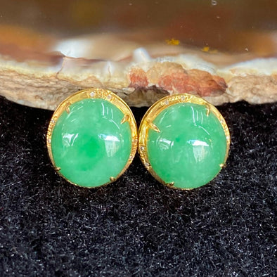 Type A Burmese Jade Jadeite Earrings 18k Gold - 3.23g each 12.1 by 11.6 by 7.4mm