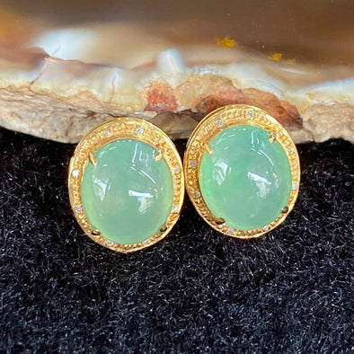 Type A Burmese Jade Jadeite Earrings 18k Gold - 1.92g 10.8 by 9.4 by 6.5mm