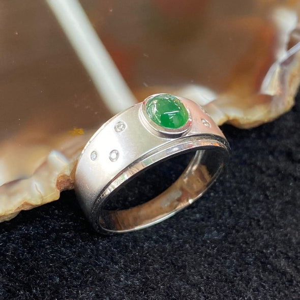 Type A Burmese Jade Jadeite 18K White gold Ring - 4.05g US7.45 HK17