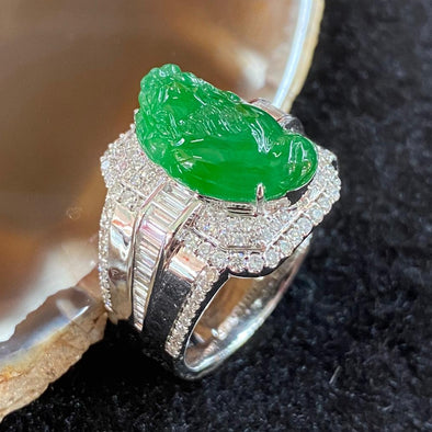 Type A Burmese High End Jade Jadeite Pixiu Ring 18K White Gold & Diamonds - 14.99g US9.45 HK22