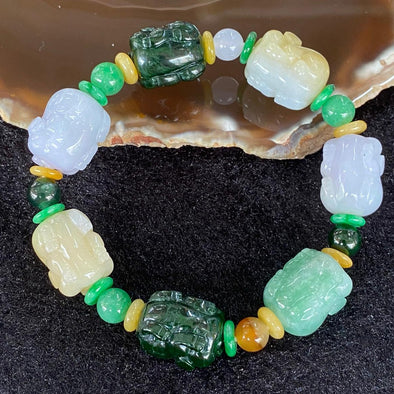 Type A Burmese Jade Jadeite Pig Piglets Bracelet - 54.46g each about 18.1 by 13.9mm