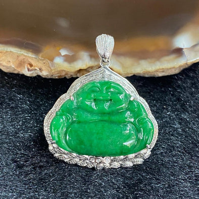 Type A Burmese Jade Jadeite 18k white gold Milo laughing Buddha - 3.40g 28.0 by 24.4 by 6.7mm