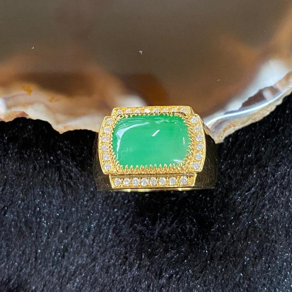 18k yellow gold Type A Burmese Jade jadeite ring US Size 9 HK Size 20