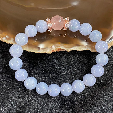 Customized Type A Burmese Jade Jadeite Lavender beads Bracelet - 27.34g lavender jade 9.3mm/bead Rose Quartz 10.9mm/bead