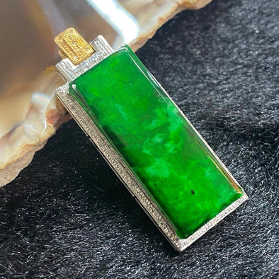 Type A Burmese Jade Jadeite 18k White Gold Pendant - 3.08g 34.1 by 12.7 by 5.3mm