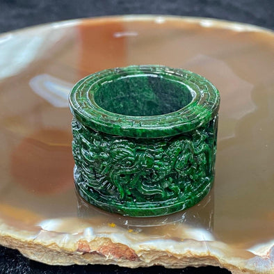 1281 Type A Burmese Jade Jadeite Dragon Thumb Ring - US size 12.5 HK size 28.5
