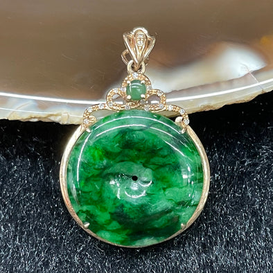 Type A Burmese Jade Jadeite 18k rose gold pendant - 2.83g 26.4 by 20.7 by 4.8mm