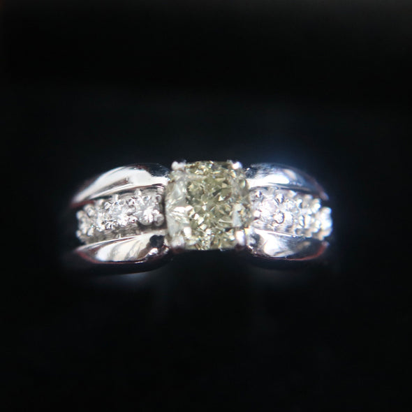 1.29 carat natural solitaire diamond ring set in PT950 platinum
