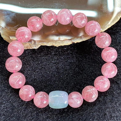 Natural Rose Quartz for romance luck & Burmese Jade Jadeite Barrel - 27.95g 9.9mm/bead