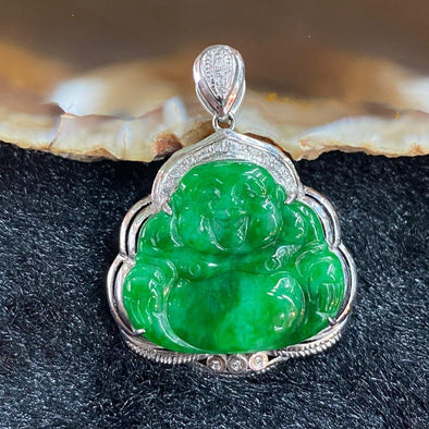 Type A Burmese Jade Jadeite 18k white gold Milo laughing Buddha - 3.42g 29.0 by 22.9 by 6.0mm