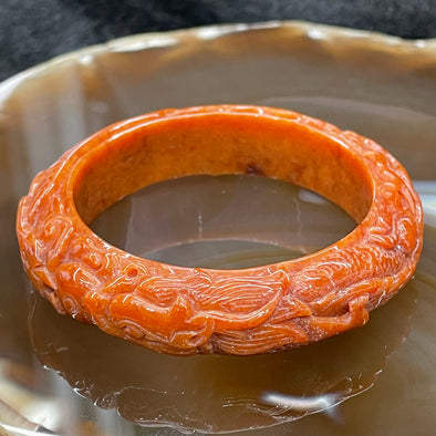 Type A Burmese Red Jade Dragon & Phoenix Bangle - 46.22g 47.2mm inner diameter 13.7mm thickness