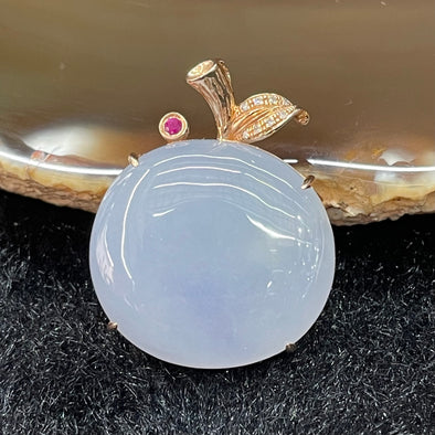 Type A Burmese Jade Jadeite Lavender Apple set in 18k rose gold - 8.43g 21.4 by 23.1 by 7.7mm