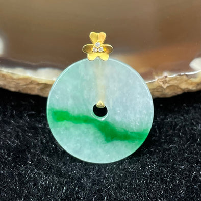 Type A Burmese Jade Jadeite Ping An Kou set in 18k yellow gold - 1.88g 18.6 by 18.6 by 1.9mm