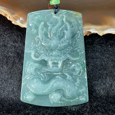 Type A Burmese Blueish Green Dragon Jade Jadeite - 30.19g 53.9 by 37.4 by 8.1mm